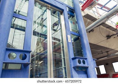 Subway Station Glass Elevator Doors Closed Waiting Looking Up Perspective Modern Architecture Urban City
