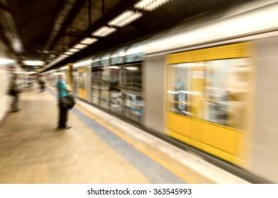 Subway station interior in Sydney, Australia.