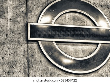 Subway symbol in London.