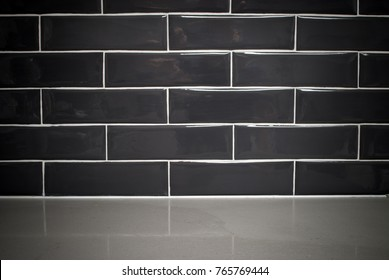 subway tile background in kitchen