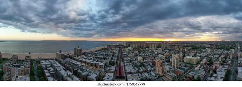 Subway tracks along southern Brooklyn, serving Coney Island, Brighton Beach, Ocean Parkway and Sheepshead Bay.