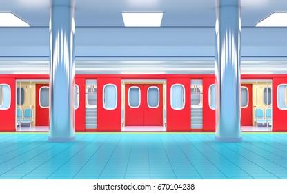 subway train arrive on station side view. 3d illustration.