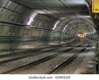 Subway train at the end of the tunnel