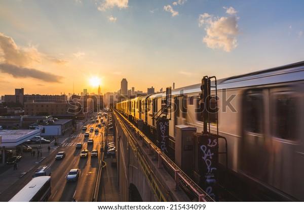 Subway Train in New York at Sunset