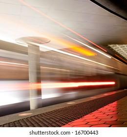 subway transportation in motion