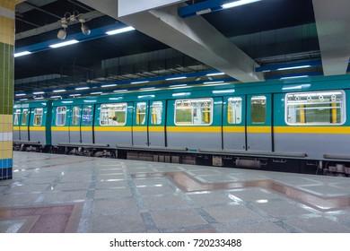 Subway (Underground) with stop train