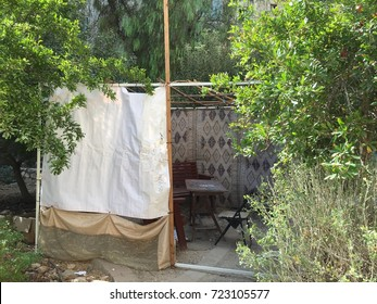 Succah in the middle  of a garden