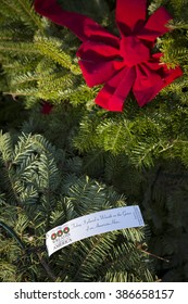 SUCCASUNNA, NJ-DEC 12, 2015: Close up of the tag that reads Today, I placed A Wreath on the Grave of an American Hero on wreaths for the 2015 nationwide Wreaths Across America event.