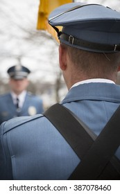SUCCASUNNA, NJ-DEC 12, 2015: Close up view from behind members of the Morris County Honor Guard who formed the Corridor of Honor after the memorial service for the 2015 Wreaths Across America event.
