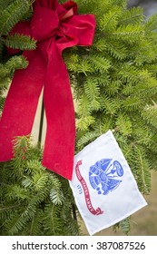 SUCCASUNNA, NJ-DEC 12, 2015: Close up view of the U.S. Army ceremonial wreath at the 2015 nationwide Wreaths Across America event between the First Presbyterian and United Methodist churches.