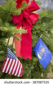SUCCASUNNA, NJ-DEC 12, 2015: Close up view of the U.S. Air Force ceremonial wreath after the 2015 nationwide Wreaths Across America event at the First Presbyterian and the United Methodist Churches.