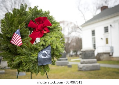 SUCCASUNNA, NJ-DEC 12, 2015: The POW/MIA ceremonial wreath stands between the First Presbyterian and the United Methodist Church combined cemeteries in during the 2015 Wreaths Across America event.