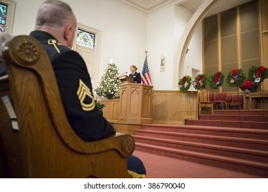 SUCCASUNNA, NJ-DEC 12, 2015: U.S. Army Lt. Col. Ingrid Parker, Garrison Commander at Picatinny Arsenal speaks at the memorial service during the 2015 Wreaths Across America event.