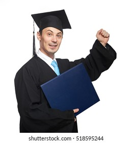 Succeed student with diploma on garduation isolated on white background