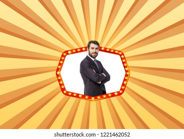 succes concept with an elegant man in a cinema star frame on a retro colorful background