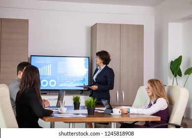 Succesful enterprenours and business people in conference room analyzing graphs and diagrams on a TV. Succesful business persons