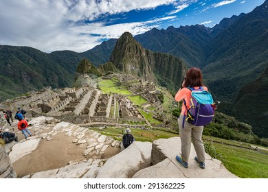 Succesful Traveller at Machu Picchu, New 7 Wonder of the Word, Cusco, Peru