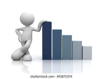 succesfull business graph concept  3d illustration