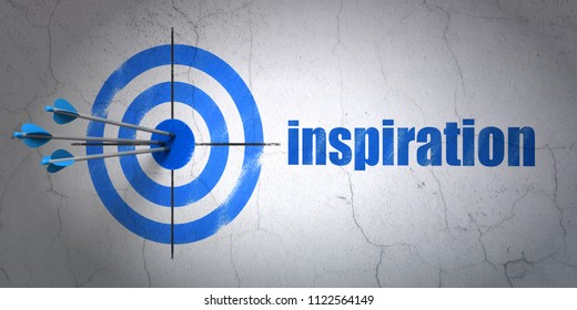 Success advertising concept: arrows hitting the center of target, Blue Inspiration on wall background, 3D rendering
