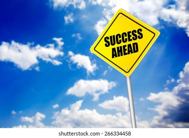 Success ahead message on road sign