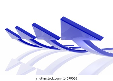 Success arrow isolated in the white background