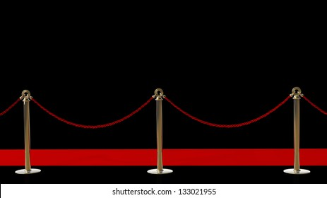 success. Barrier rope and red carpet isolated on black background High resolution 3D