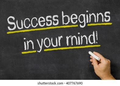 Success beginns in your mind written on a blackboard