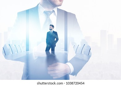 Success and boss concept. Businessman on abstract office city background with copy space. Double exposure