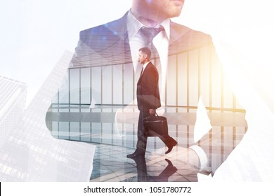 Success and boss concept. Businessman on abstract white office and city background with sunlight. Double exposure