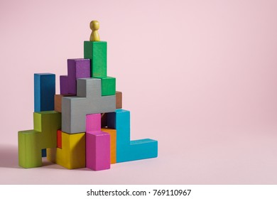 Success building concept. Personal development, personal and career growth, progress and potential. People standing on wood block as step stair. Success business management, growth business concept.