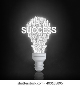 Success bulb in darkness