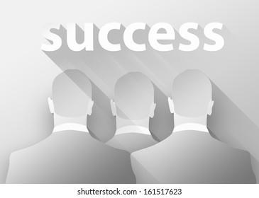 Success in business, 3d illustration flat design
