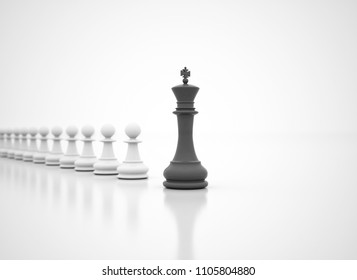 Success in business - chess King in front - High resolution 3d render