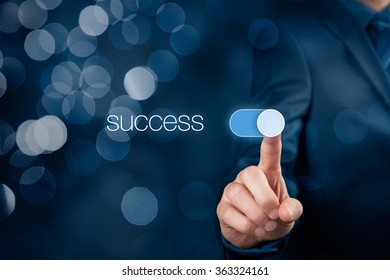Success in business concept. Businessman (mentor, coach) switch over success, bokeh in background.