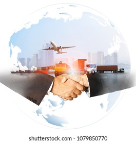 success business of Global logistics , Air cargo trucking rail transportation maritime shipping On-time delivery,Supply Chain concept