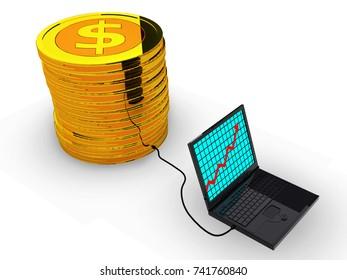 Success business graph on laptop.3d illustration