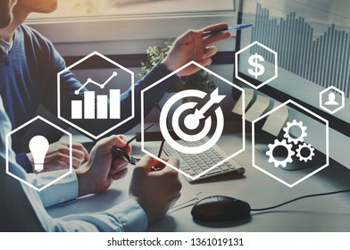 success and business target concept, project management, company strategy development