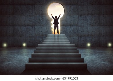 Success businessman cheering on stair against concrete wall with key hole door ,sunrise scene city skyline outdoor view .