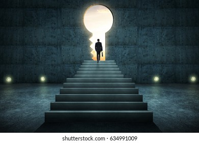 Success businessman climbing on stair against concrete wall with key hole door ,sunrise scene city skyline outdoor view .