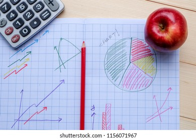 Success concept about education or examination.There are pencils, color, many charts on graph paper, answers sheet,calculator, pages of notebook with Ready Exam word, red apple on wooden background.