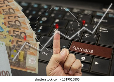 Success. Concept based on money, a hand, a suitable key and a bullish or positive chart in the markets