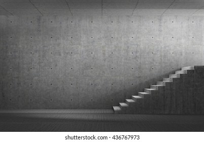 Success concept. Concrete room with stair and light on finish. 3d illustration