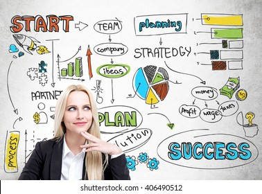 Success concept. Happy thoughtful businesswoman with business scheme on wall in the background