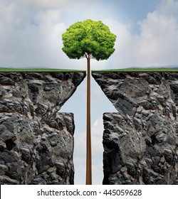 Success concept or rising growth tree in business as a growing plant emerging out of a cliff shaped as an arrow as a prosperity and investment achievement metaphor in a 3D illustration style.