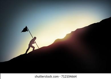 Success concept,businessman climbing to target