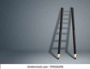 success creative concept, pencil Ladder