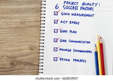 Success factors checklist concept- many criteria as checked in the checkbox the factors of a success.