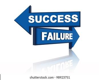 Success failure - 3d blue oposite arrows with text