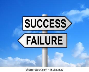 Success and failure choice sign post against blue sky