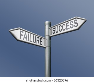 success failure road sign on blue background turning point crucial important choice crossroads decisive choice